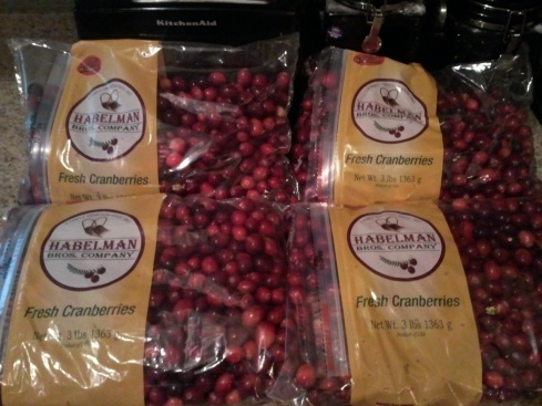 4 3 lb bags of cranberries