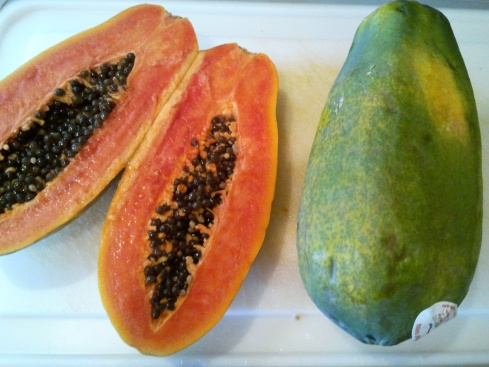 Inside of a green papaya