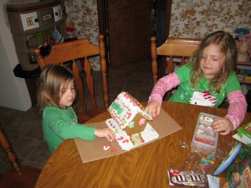 S & K working on 2012 Gingerbread House