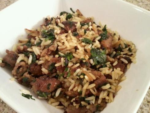 Sausage, Spinach, and Rice
