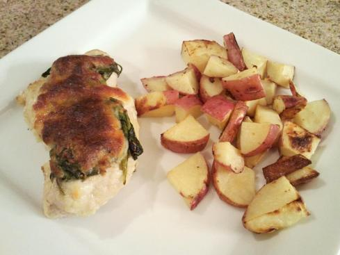 Spinach and Mozzarella Chicken with Lemon Roasted Potatoes