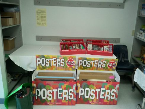 Posters and school supplies