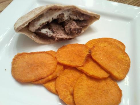 Gyros Meatloaf with Tzatziki and Sweet Potato Chips