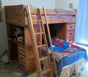 Loft bed before extra rails and upgraded ladder