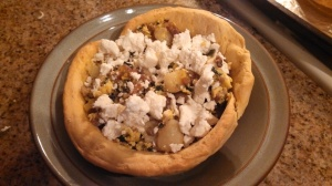 Breakfast Biscuit Bowl with crumbled feta