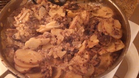 Creamy Mushroom, Beef, and Potato Skillet