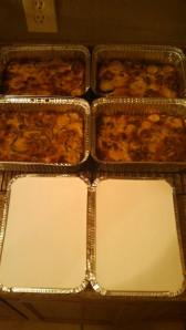 Finished casseroles in foil pans with lids for the freezer