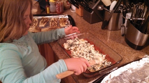 Layering the Eggplant Lasagna