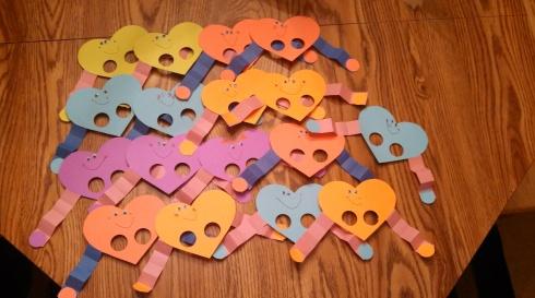 Finished Finger Puppet Valentines