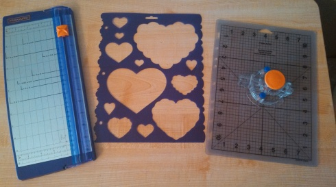 Tools to make finger puppet valentines