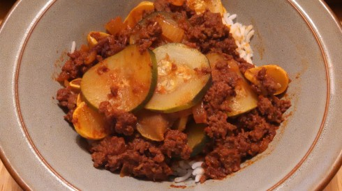Ground Beef, Summer Squash, and Rice Skillet