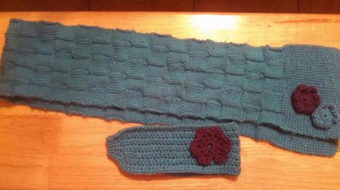 Turquoise(ish) headband with complimenting scarf
