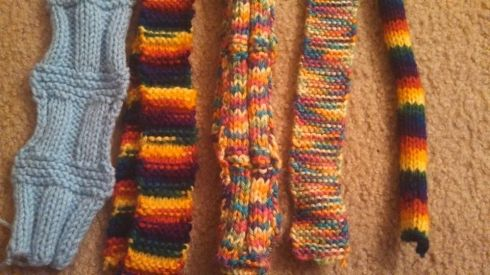 Close up of my first scarves