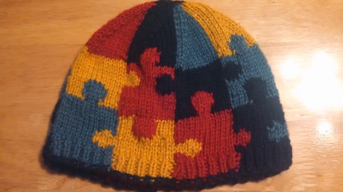 Finished Autism Awareness Puzzle Hat