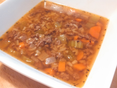 Sophia's Ground Beef and Rice Soup