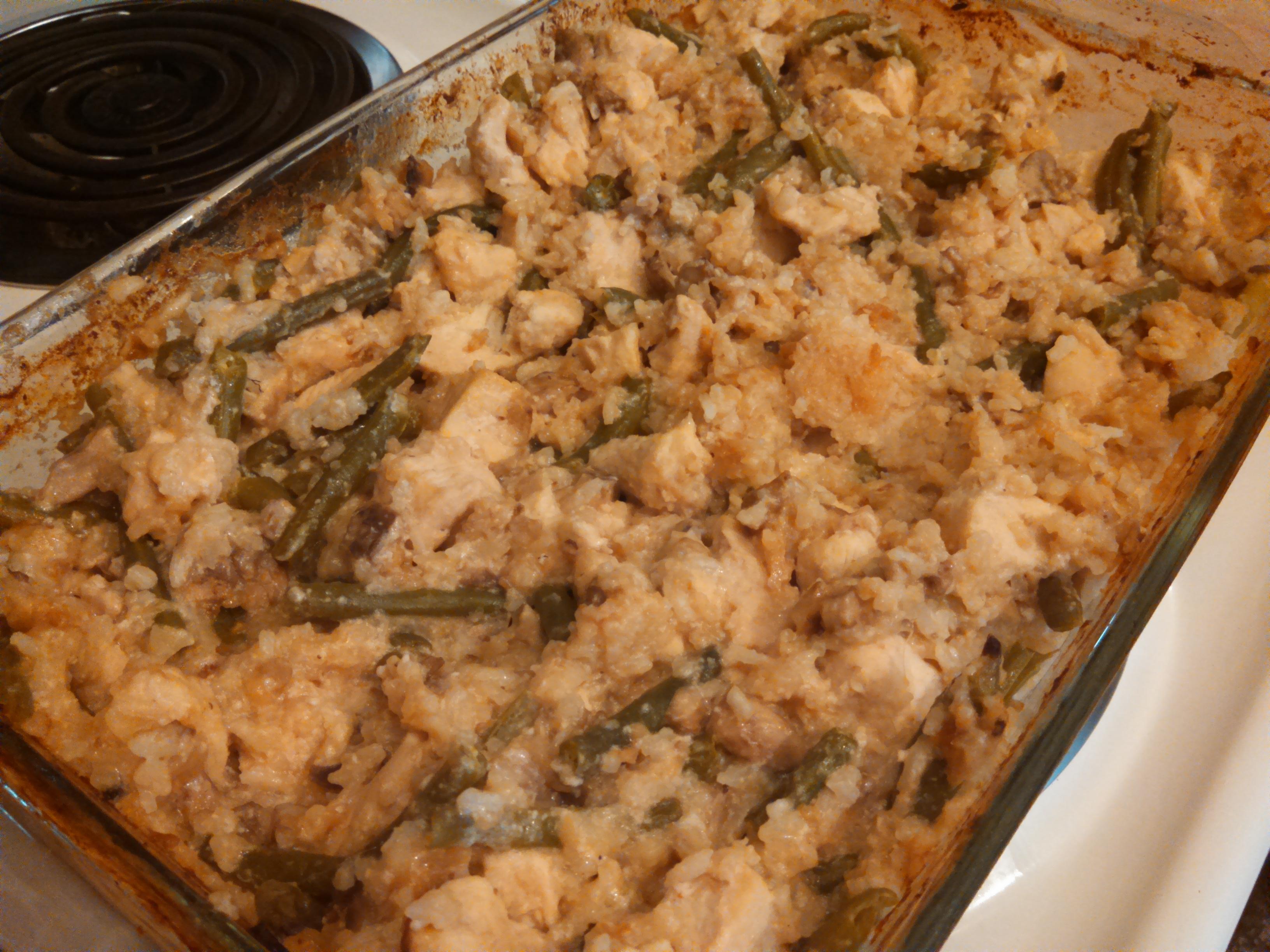 Creamy Mushroom, Green Bean, Chicken, and Rice Casserole