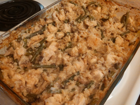 Creamy Mushroom, Green Bean, Chicken, and Rice Casserole